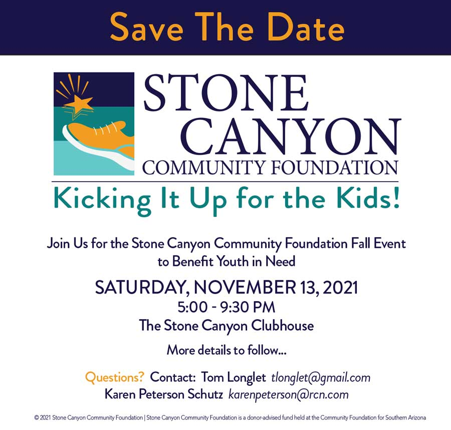 Stone Canyon Community Foundation - Kicking it up for the Kids 2021 Save the Date